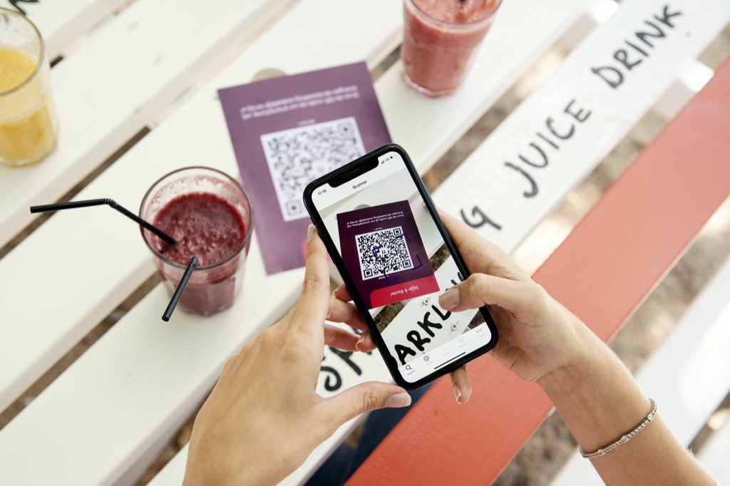The built-in camera app of an iPhone can scan QR codes